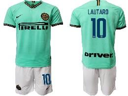 Mens 19-20 Soccer Inter Milan Club #10 Lautaro Green Away Short Sleeve Suit Jersey