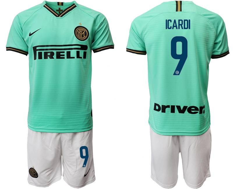 Mens 19-20 Soccer Inter Milan Club #9 Icardi Green Away Short Sleeve Suit Jersey