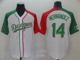 Mens Majestic Los Angeles Dodgers #14 Enrique Hernandez White Half Edition Cool Base Jersey