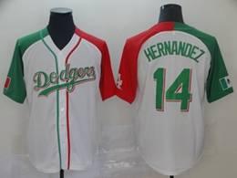 Mens Majestic Los Angeles Dodgers #14 Enrique Hernandez White Half Edition Cool Base Jersey
