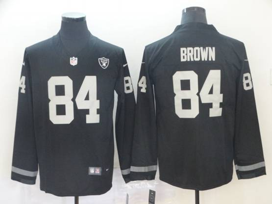 Mens Nfl Las Vegas Raiders #84 Antonio Brown Black Nike Therma Long Sleeve Vapor Untouchable Jersey