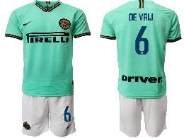 Mens 19-20 Soccer Inter Milan Club #6 De Vrij Green Away Short Sleeve Suit Jersey