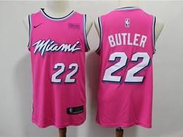 Mens Nba Miami Heat #22 Jimmy Butler Pink Earned Edition Nike Swingman Jersey