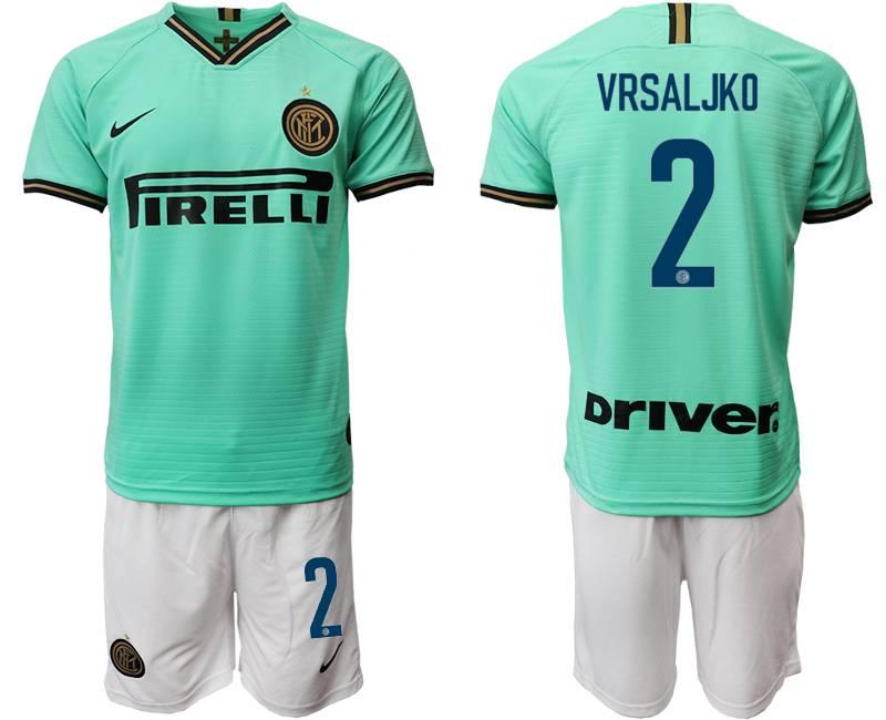 Mens 19-20 Soccer Inter Milan Club #2 Vrsaljko Green Away Short Sleeve Suit Jersey