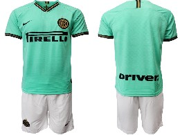 Mens 19-20 Soccer Inter Milan Club ( Blank ) Green Away Short Sleeve Suit Jersey