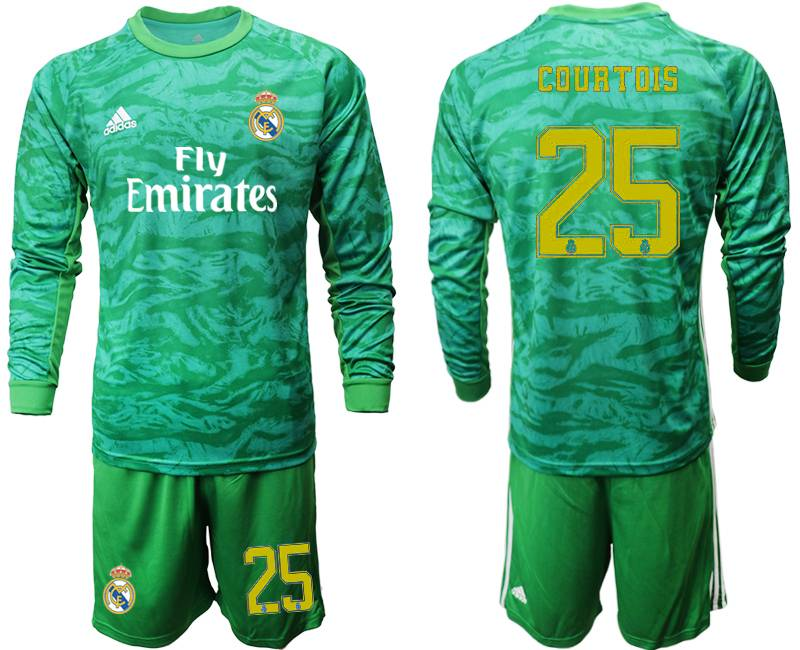 Mens 19-20 Soccer Real Madrid Club #25 Courtois Green Goalkeeper Long Sleeve Suit Jersey