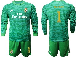 Mens 19-20 Soccer Real Madrid Club #1 Navas Green Goalkeeper Long Sleeve Suit Jersey