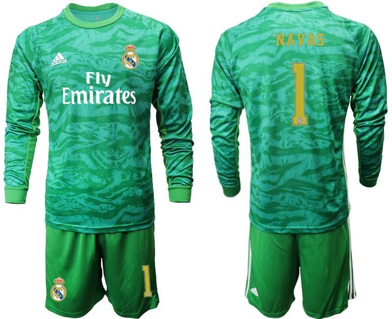 Mens 19-20 Soccer Real Madrid Club #1 Navas Green Goalkeeper Long Sleeve Suit Jersey
