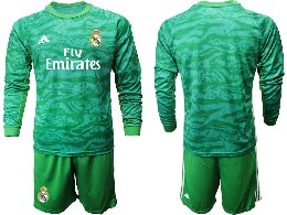 Mens 19-20 Soccer Real Madrid Club ( Blank ) Green Goalkeeper Long Sleeve Suit Jersey