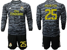 Mens 19-20 Soccer Real Madrid Club #25 Courtois Black Goalkeeper Long Sleeve Suit Jersey