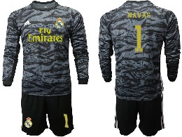 Mens 19-20 Soccer Real Madrid Club #1 Navas Black Goalkeeper Long Sleeve Suit Jersey