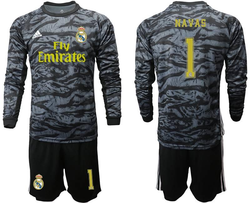 Mens 19-20 Soccer Real Madrid Club #1 Navas Black Goalkeeper Long Sleeve Suit Jersey