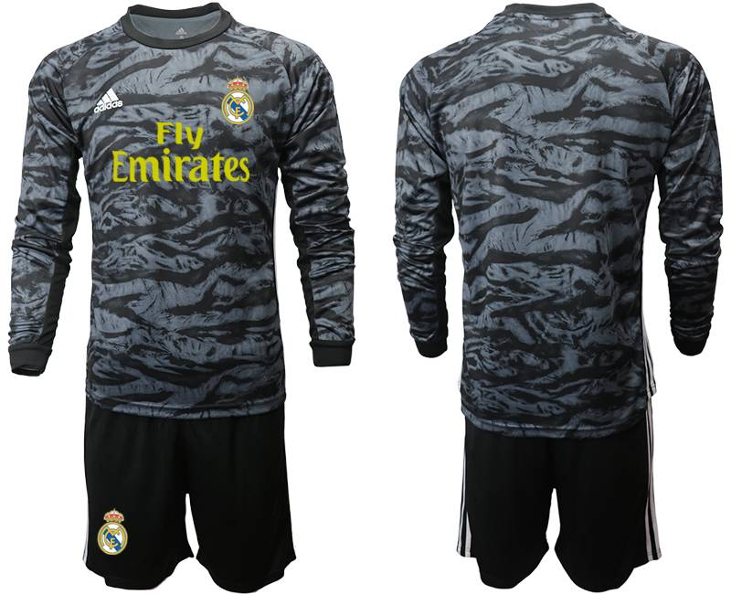 Mens 19-20 Soccer Real Madrid Club ( Blank ) Black Goalkeeper Long Sleeve Suit Jersey