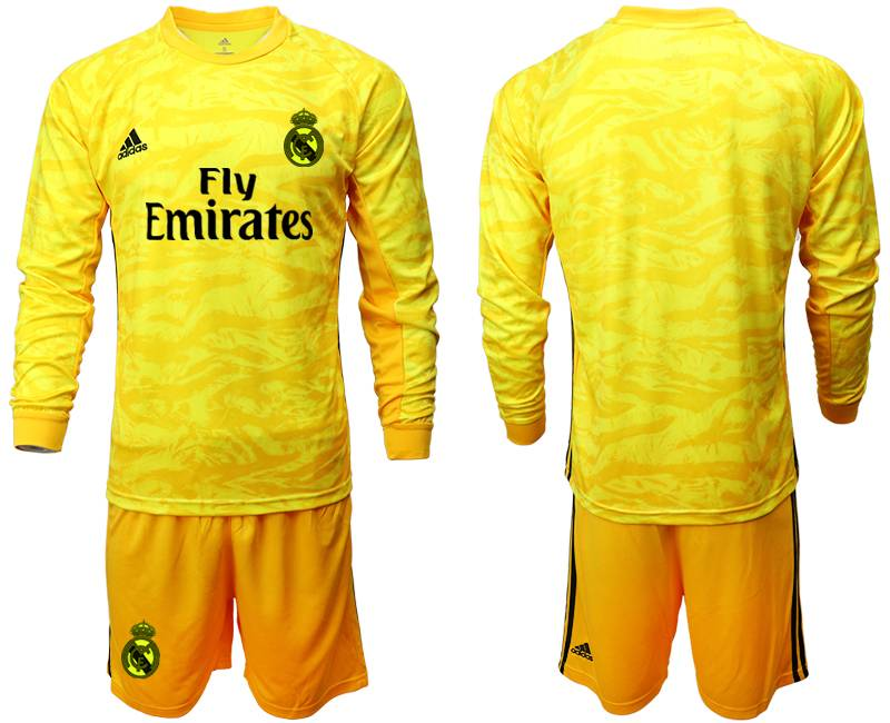 Mens 19-20 Soccer Real Madrid Club ( Custom Made ) Yellow Goalkeeper Long Sleeve Suit Jersey