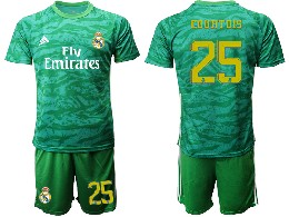 Mens 19-20 Soccer Real Madrid Club #25 Courtois Green Goalkeeper Short Sleeve Suit Jersey