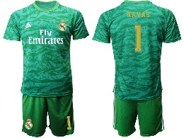 Mens 19-20 Soccer Real Madrid Club #1 Navas Green Goalkeeper Short Sleeve Suit Jersey