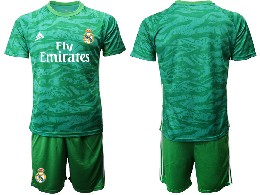 Mens 19-20 Soccer Real Madrid Club ( Blank ) Green Goalkeeper Short Sleeve Suit Jersey