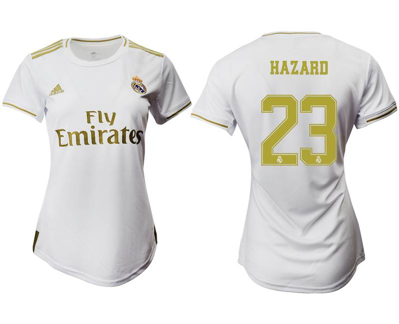Women 19-20 Soccer Real Madrid Club #23 Hazard White Home Short Sleeve Suit Jersey
