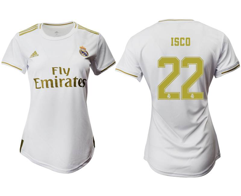 Women 19-20 Soccer Real Madrid Club #22 Isco White Home Short Sleeve Suit Jersey