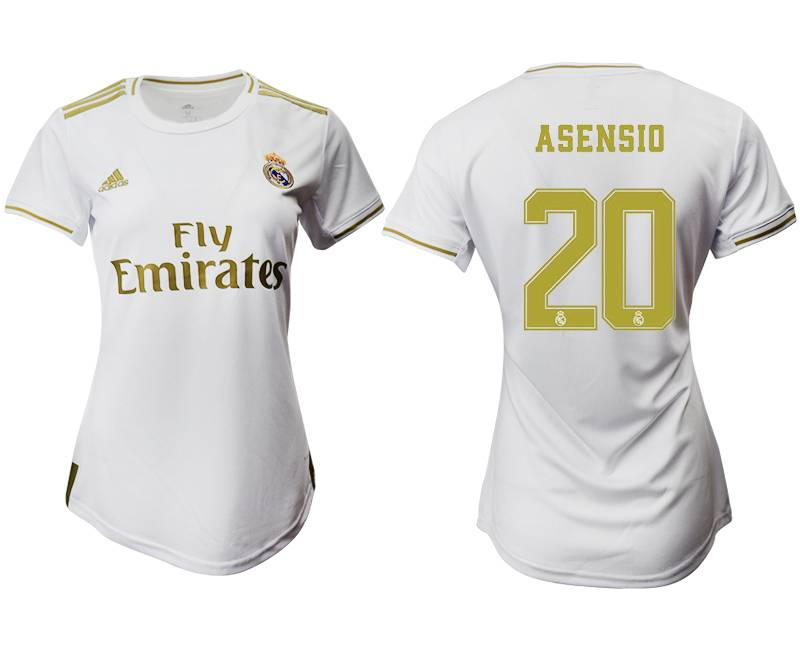 Women 19-20 Soccer Real Madrid Club #20 Asensio White Home Short Sleeve Suit Jersey