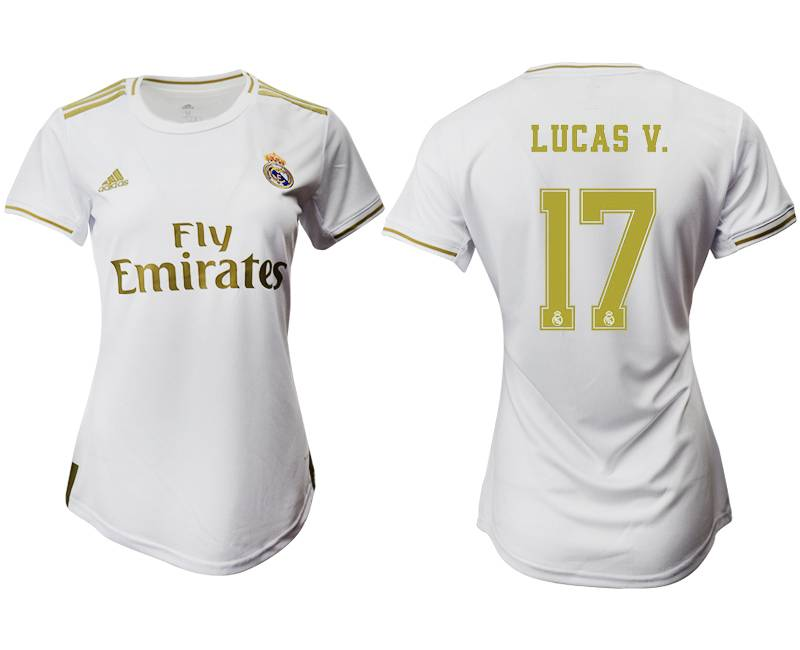 Women 19-20 Soccer Real Madrid Club #17 Lucas V. White Home Short Sleeve Suit Jersey