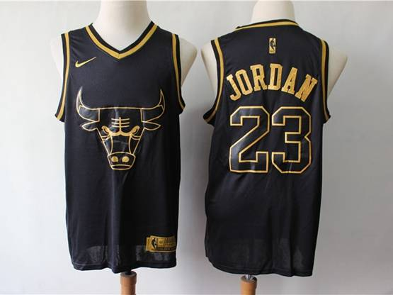 Mens Nba Chicago Bulls #23 Michael Jordan Black Gold Collection Limited Edition Jersey
