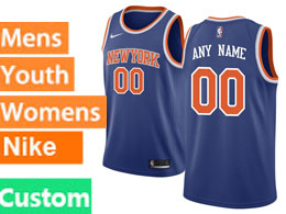 Mens Women Youth Nba New York Knicks Custom Made Blue Swingman Nike Jersey
