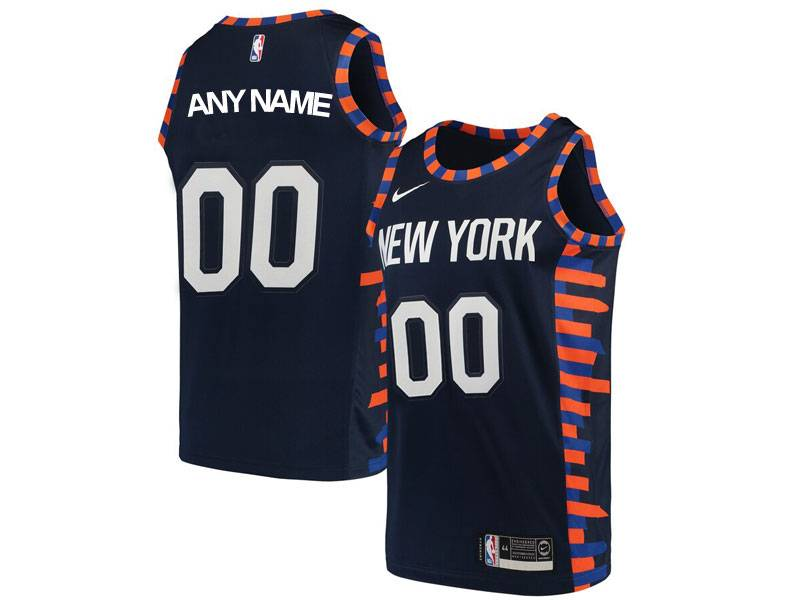 Mens Women Youth Nba New York Knicks Custom Made Blue Dark Blue City Edition Nike Swingman Jersey