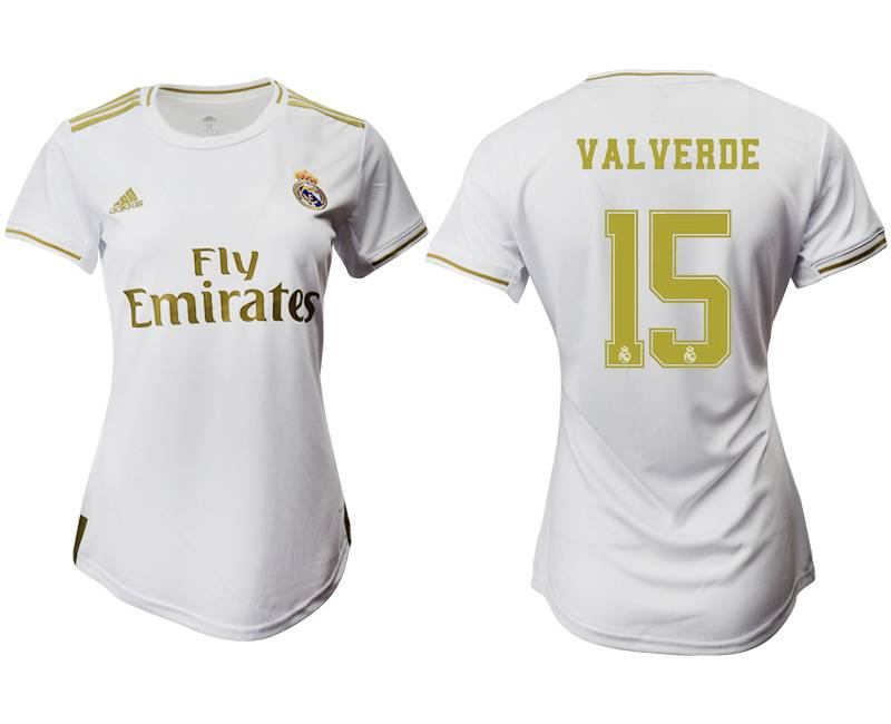 Women 19-20 Soccer Real Madrid Club #15 Valverde White Home Short Sleeve Suit Jersey