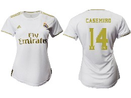 Women 19-20 Soccer Real Madrid Club #14 Casemiro White Home Short Sleeve Suit Jersey