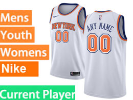 Mens Women Youth Nba New York Knicks Current Player White City Edition Nike Swingman Jersey