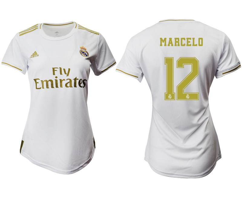 Women 19-20 Soccer Real Madrid Club #12 Marcelo White Home Short Sleeve Suit Jersey
