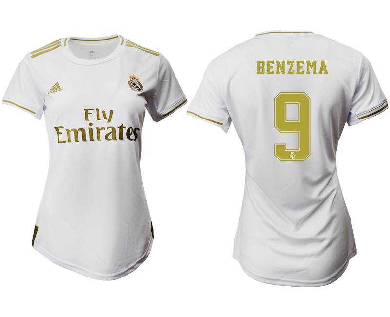Women 19-20 Soccer Real Madrid Club #9 Benzema Home Short Sleeve Suit Jersey