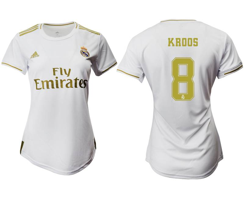 Women 19-20 Soccer Real Madrid Club #8 Kroos Home Short Sleeve Suit Jersey