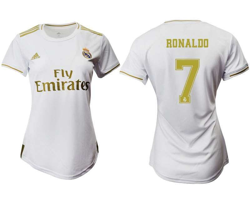 Women 19-20 Soccer Real Madrid Club #7 Ronaldo Home Short Sleeve Suit Jersey