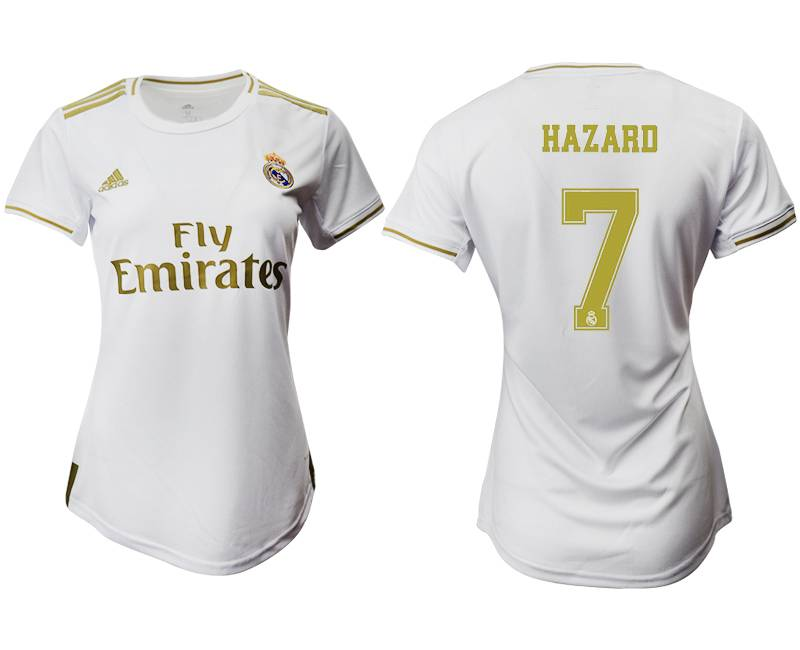 Women 19-20 Soccer Real Madrid Club #7 Hazard Home Short Sleeve Suit Jersey