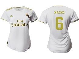 Women 19-20 Soccer Real Madrid Club #6 Nacho Home Short Sleeve Suit Jersey