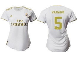 Women 19-20 Soccer Real Madrid Club #5 Varane Home Short Sleeve Suit Jersey