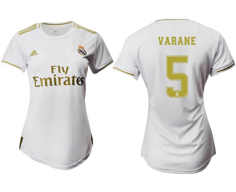 Women 19-20 Soccer Real Madrid Club #5 Varane Home Short Sleeve Suit Jersey