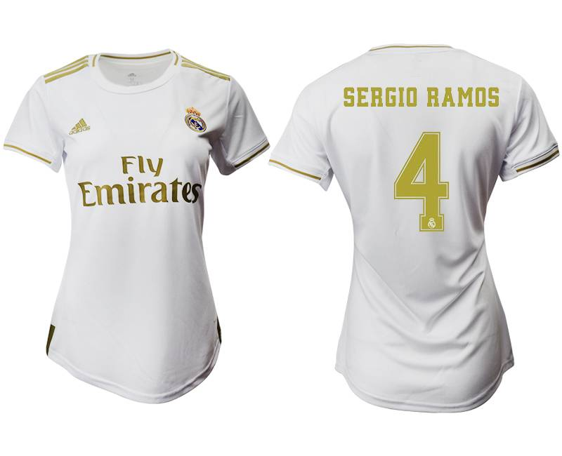 Women 19-20 Soccer Real Madrid Club #4 Sergio Ramos Home Short Sleeve Suit Jersey