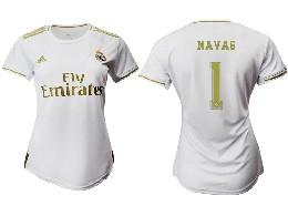 Women 19-20 Soccer Real Madrid Club #1 Navas Home Short Sleeve Suit Jersey