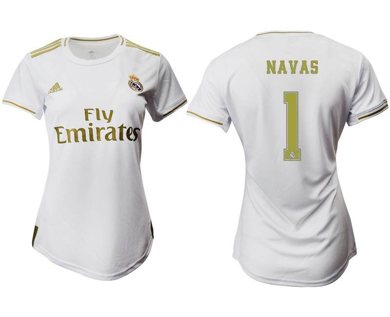 Women 19-20 Soccer Real Madrid Club #1 Navas Home Short Sleeve Suit Jersey