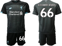 Mens 19-20 Soccer Liverpool Club #66 Alexander-arnold Black Second Away Short Sleeve Suit Jersey