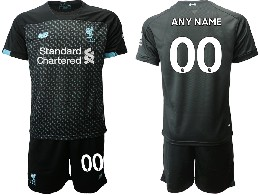 Mens 19-20 Soccer Liverpool Club ( Custom Made ) Black Second Away Short Sleeve Suit Jersey