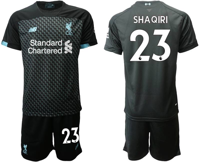 Mens 19-20 Soccer Liverpool Club #23 Shaqiri Black Second Away Short Sleeve Suit Jersey