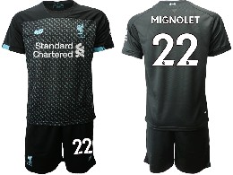 Mens 19-20 Soccer Liverpool Club #22 Mignolet Black Second Away Short Sleeve Suit Jersey