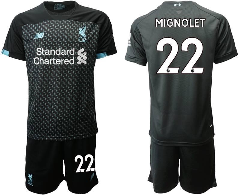 Mens 19-20 Soccer Liverpool Club #22 Mignolet Black Second Away Short Sleeve Suit Jersey