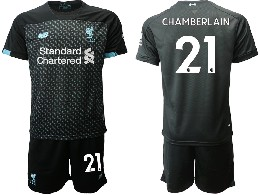 Mens 19-20 Soccer Liverpool Club #21 Chamberlain Black Second Away Short Sleeve Suit Jersey