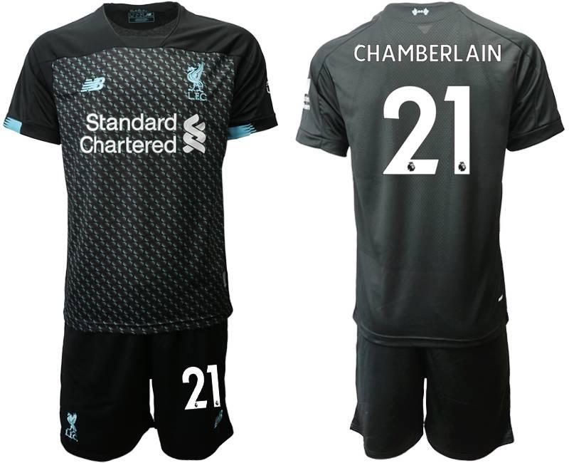 Mens 19-20 Soccer Liverpool Club #21 Chamberlain Black Second Away Short Sleeve Suit Jersey