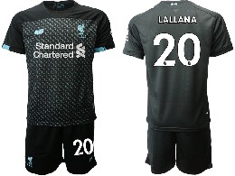 Mens 19-20 Soccer Liverpool Club #20 Lallana Black Second Away Short Sleeve Suit Jersey